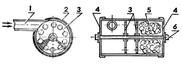 Схема глушителя: 1 — входной